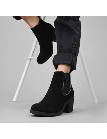 8358d74f1dc Black Faux Suede Ball Studded Chelsea Boots with Mid Block Heel from KOI  Footwear