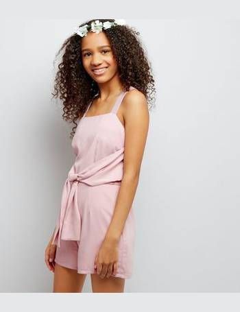 c8305d02b26 Teens Shell Pink Tie Front Playsuit New Look from New Look