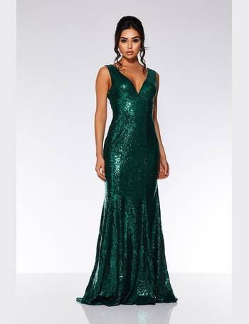 c4a4f4cb1b0 Emerald Sequin V Plunge Neck Fishtail Maxi Dress from Quiz Clothing