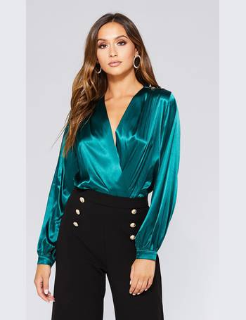 dc18274514 Green Satin Wrap Long Sleeve Bodysuit from Quiz Clothing