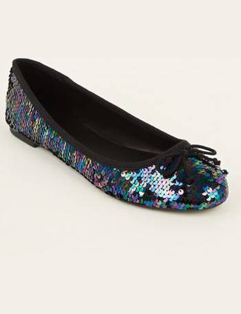 c21ebd67f70 Wide Fit Rainbow Sequin Ballet Pumps New Look from New Look
