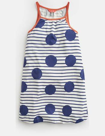 4de2683d0 BLUE LARGE SPOT AND STRIPE Tamzin Strappy Swing Dress 3-12 Yr from Joules
