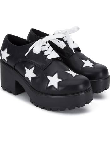 21f64a2e3e4 White Lace and Star Low Top Black Chunky Platform Lace up Shoes from KOI  Footwear