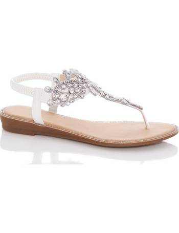 678f03a30398 White Jewel Flat Sandals from Quiz Clothing