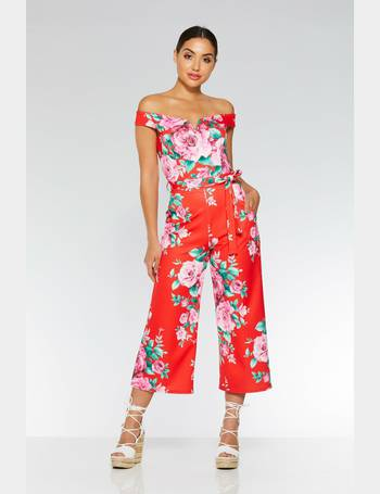 0ef2eccbcae Red And Pink Floral Tie Belt Culotte Jumpsuit from Quiz Clothing