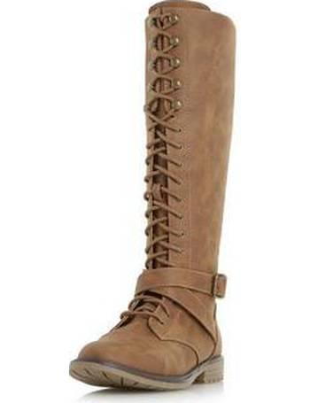 76a62c8fe9c Womens Head Over Heels By Dune 'Tibbie' Tan Flat Boots- Tan