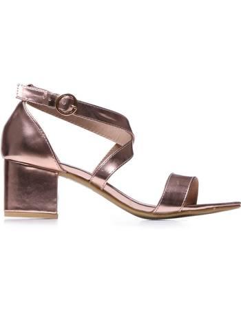 b1967e2b3f Rose Gold Criss Cross Mid Heel Sandals from KOI Footwear