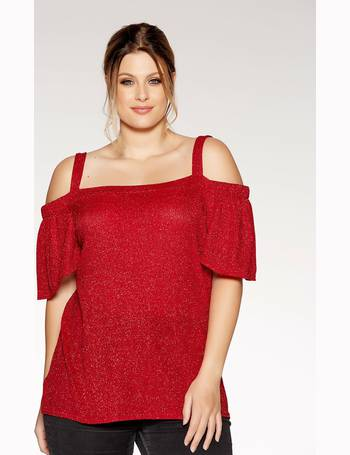 c3fef0a6c3606 Curve Red Glitter Strap Cold Shoulder Top from Quiz Clothing
