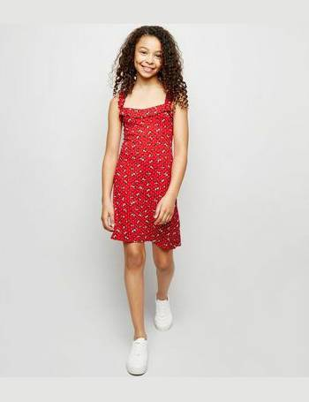 045a845ea4c Girls Red Floral Frill Strap Dress New Look from New Look