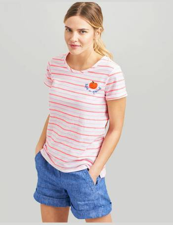 c47c5d33 Pink Stripe Nessa Embroidered Lightweight Jersey T-Shirt from Joules