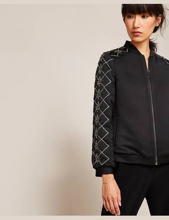 96270fdeb Embellished satin bomber jacket Black