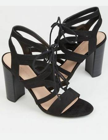 1ddefb1ce34e8 Black Suedette Lace Up Ghillie Block Heels New Look from New Look