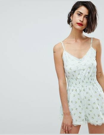 d0d31ec60e cami playsuit with shirred waist and lace trim in print from ASOS