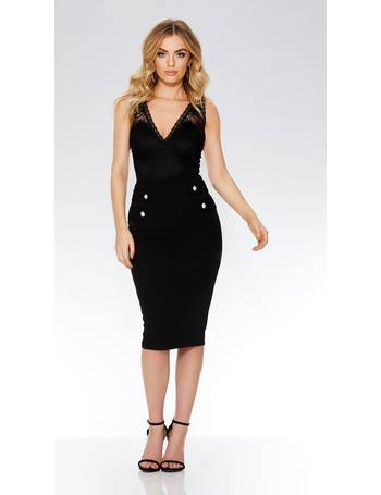 af520e8f4 Black Crepe Gold Button Bodycon Skirt from Quiz Clothing