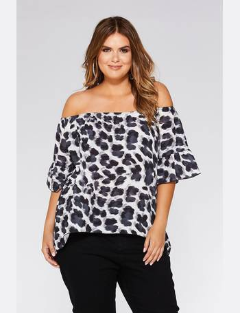 b70fdddf4f6 Curve Black And Grey Leopard Print Bardot Top from Quiz Clothing