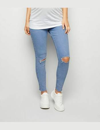 a69f92e73e5b7 Maternity Pale Blue Ripped Knee Over Bump Jeans New Look from New Look