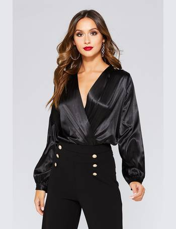 7052a2547e5d Black Satin Wrap Long Sleeve Bodysuit from Quiz Clothing