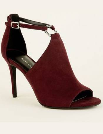 84d28b844cd Dark Red Suedette Ring Strap Heels New Look from New Look