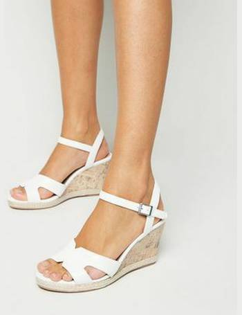 8bd314ad587 Wide Fit White Cork Effect Wedge Sandals New Look from New Look