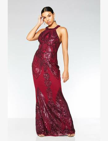 bd8a5be11651f Berry Sequin High Neck Fishtail Maxi Dress from Quiz Clothing