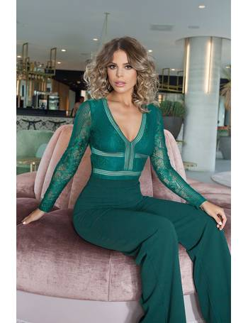 f13150fe61 TOWIE Green Lace Long Sleeve Bodysuit from Quiz Clothing
