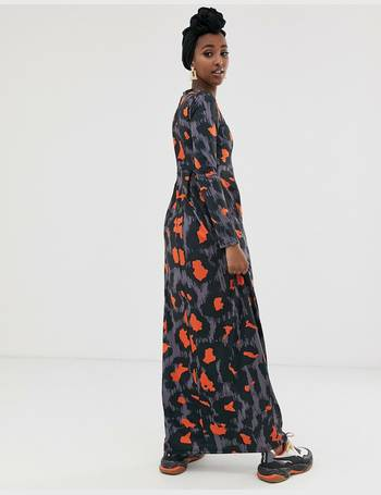 0dad50d9966d long sleeved jersey maxi dress with pleat in orange leopard print from ASOS