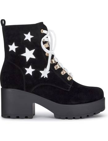 45096adc242 White Lace and Star Black Suede Chunky Platform Biker Boots from KOI  Footwear
