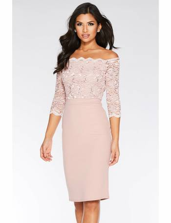 b0dc95f74d5 Dusky Pink Sequin Lace Scallop Midi Dress from Quiz Clothing