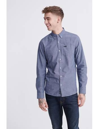 Navada Blue Gingham Superdry  Fine Flannel Long Sleeve Shirt