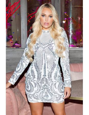 5a73664aeb8 White and Silver Sequin Bodycon Dress from Quiz Clothing