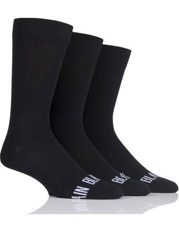 5645ea76ed Mens 3 Pair SockShop Wild Feet  Plain Black Socks  Crew Socks from Sock Shop