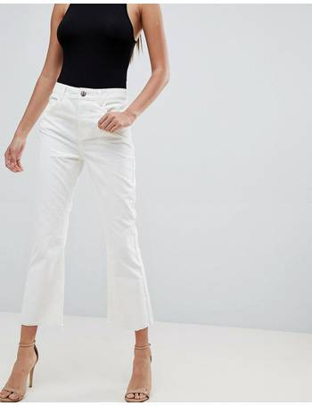 0442a3116dc6e Egerton rigid cropped flare jeans in chalk white cord in raw hem from ASOS