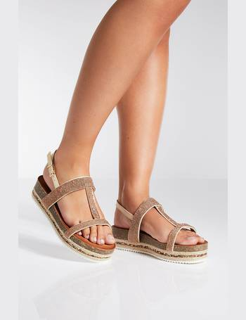 1a3ba0b7069f Rose Gold Diamante Strap Flatform Sandals from Quiz Clothing
