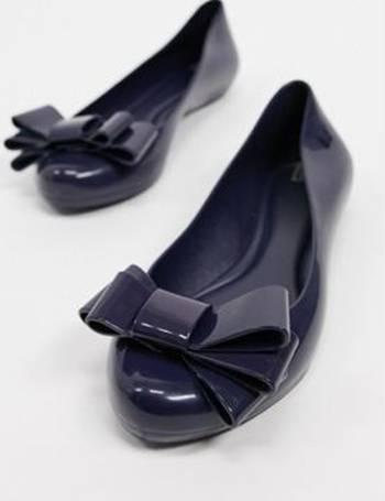 Ladies Zaxy Pop Flock Bow Luxe Grey Flat Pumps Ballerina Shoes Sizes UK 3-8