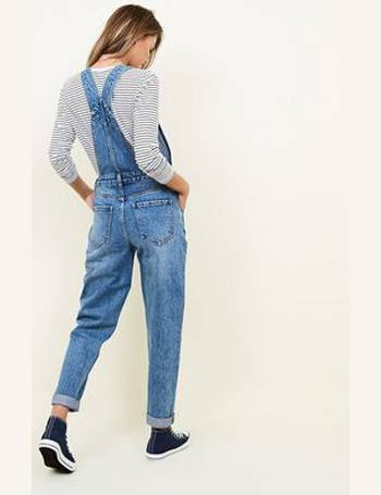 9bd8a020d4 Blue Bleach Wash Denim Slim Leg Dungarees New Look from New Look
