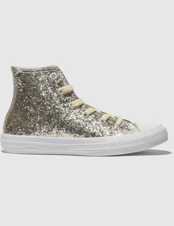 3021bdcad383 Converse. Gold All Star Hi Glitter Trainers Junior. from Schuh