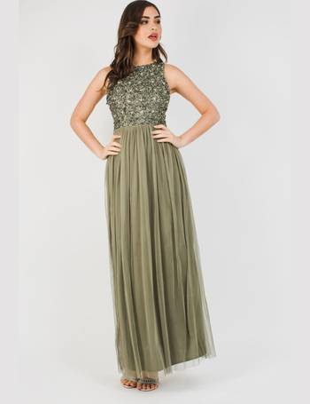 bac45ae3 Lace & Beads Picasso Khaki Embellished Maxi Dress from Tfnc