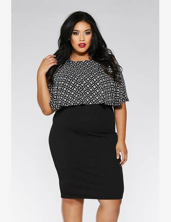 6640a65bb9b2 Curve Black and Silver Square Design Midi Dress from Quiz Clothing