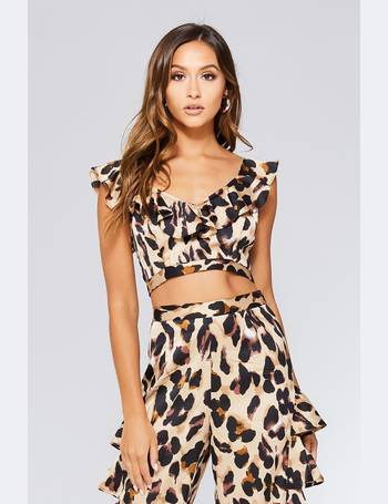 bad3afbc3c22 Black And Stone Leopard Print Frill Crop Top from Quiz Clothing