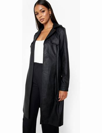 Boohoo Longline Coats For Women Up, Womens Faux Leather Trench Coat Uk