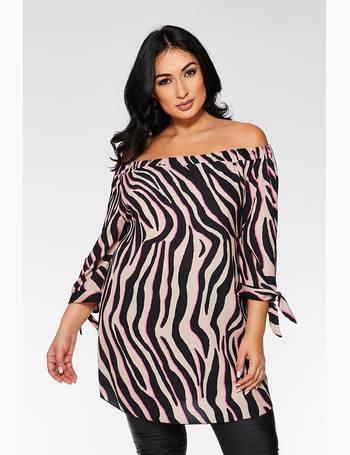 f1a8ce8f4fc8 Curve Stone Black and Fuchsia Zebra Print Tunic Dress from Quiz Clothing