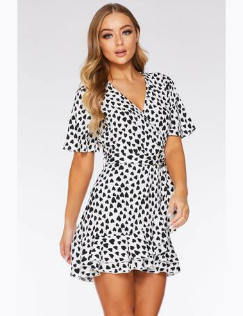 896375235abe Black and White Heart Print Wrap Dress from Quiz Clothing