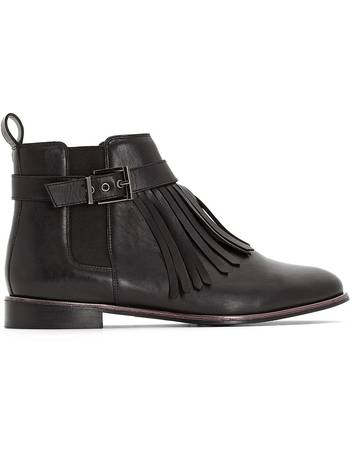 cfcb76aede1 Wide Fit Leather Chelsea Boots with Fringed Detail from La Redoute