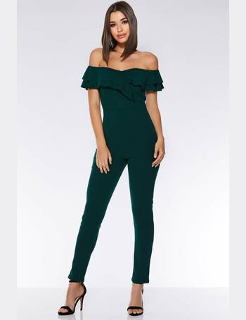0cfb828695 Bottle Green Bardot Frill Jumpsuit from Quiz Clothing