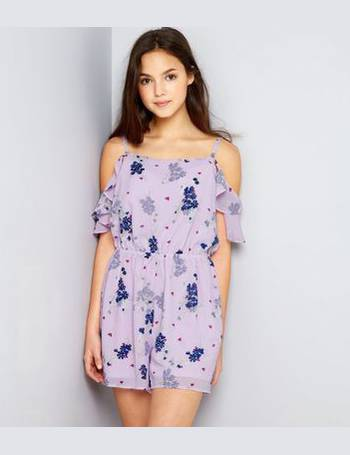 ec025ddc2aa Teens Pink Ditsy Floral Frill Sleeve Playsuit New Look from New Look