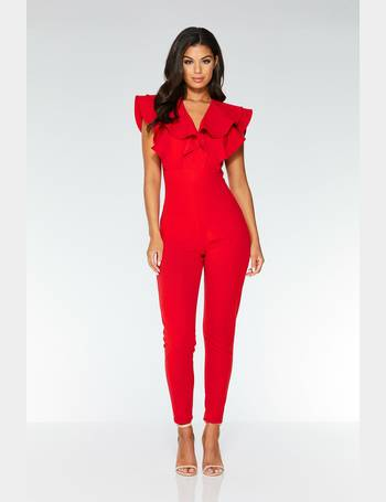 f4942eee4aa8 Red Double Frill V Neck Jumpsuit from Quiz Clothing