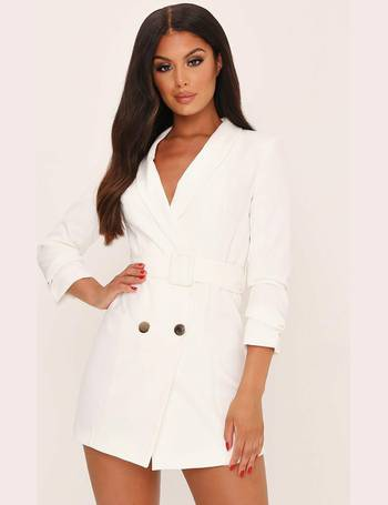 7704e6a00e08 White Double Button Belted Blazer Dress from I Saw It First
