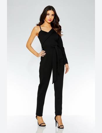 71089f54cc Black One Shoulder Tie Belt Jumpsuit from Quiz Clothing