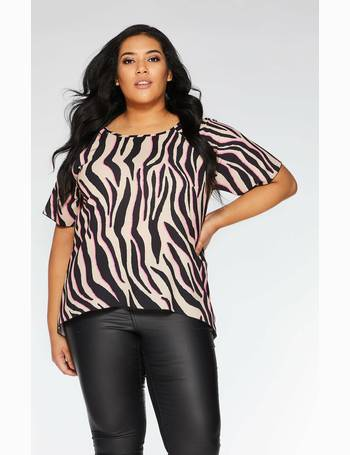 00e984ebe0f Curve Stone Black and Fuchsia Zebra Print Top from Quiz Clothing