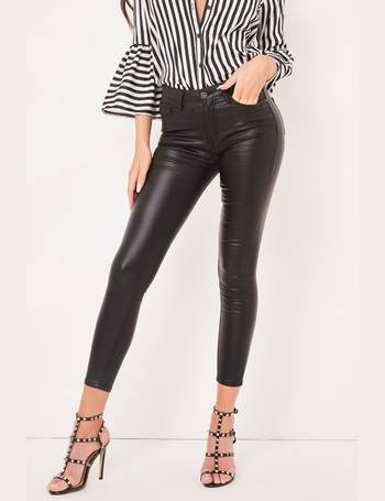 f9f0827f16af Autumn Black Coated High Waisted Skinny Jeans from Miss Pap